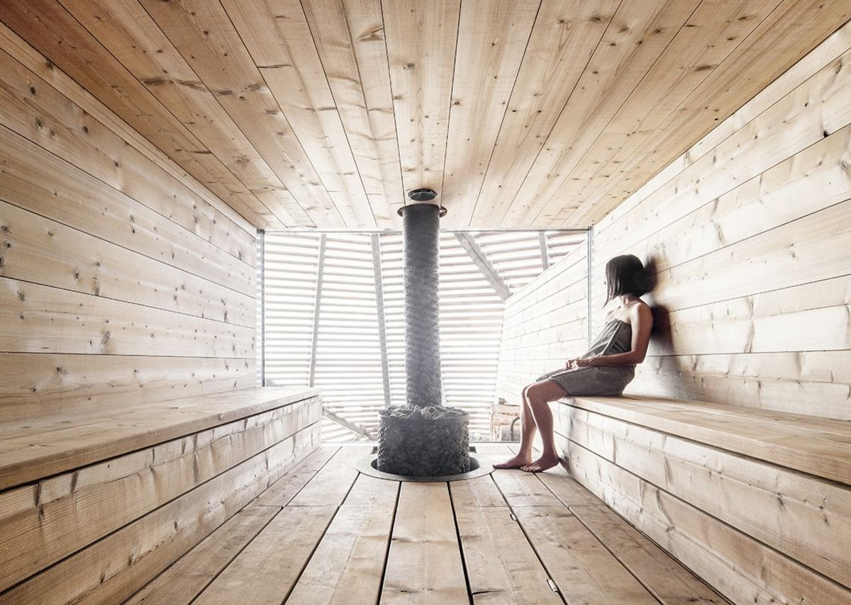 The booth-like private sauna