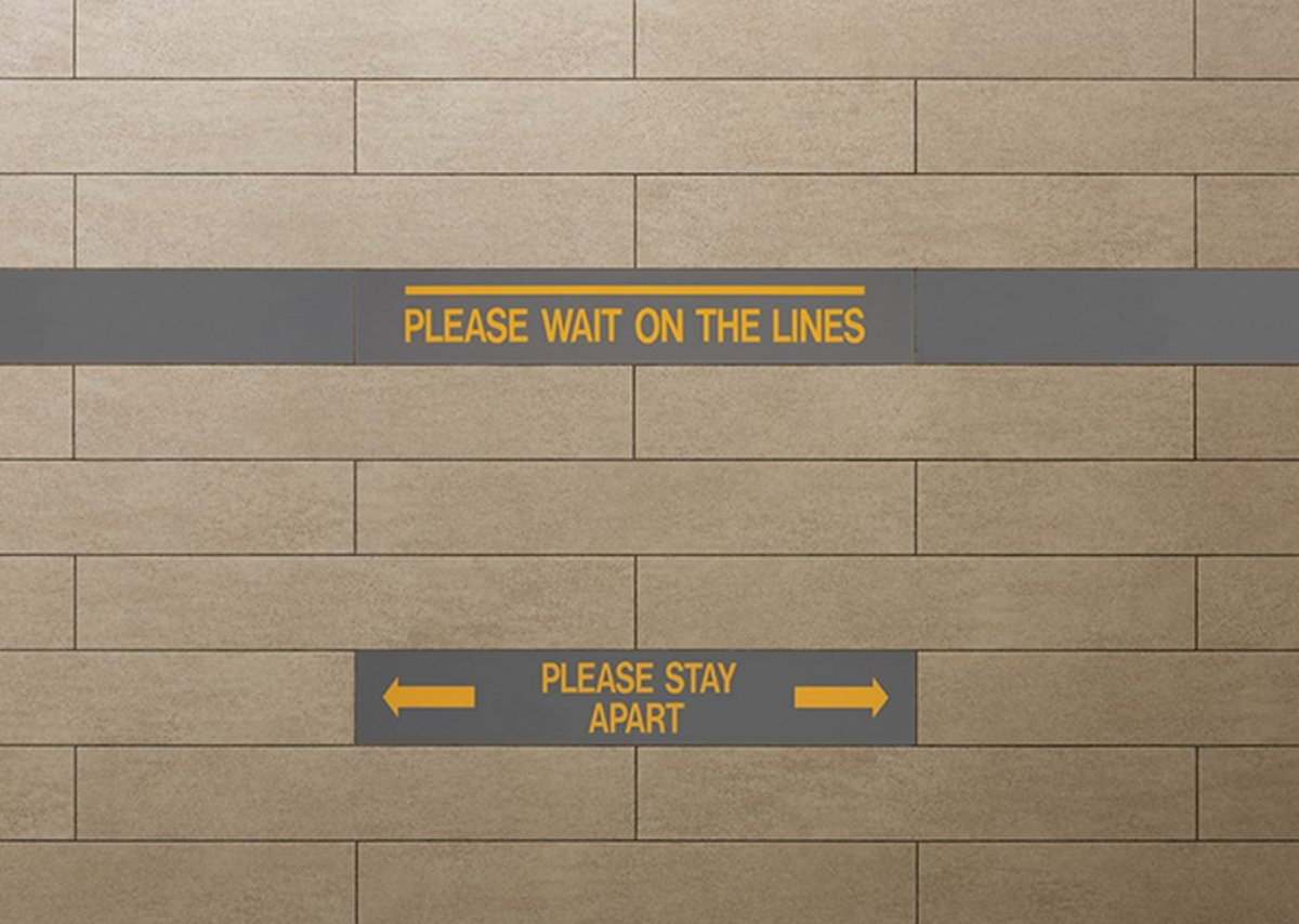 Amtico Please Wait On The Lines and Please Stay Apart.