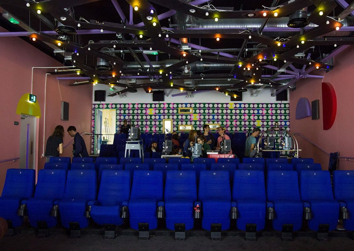 The new cinema space with its artist designed ceiling installation.