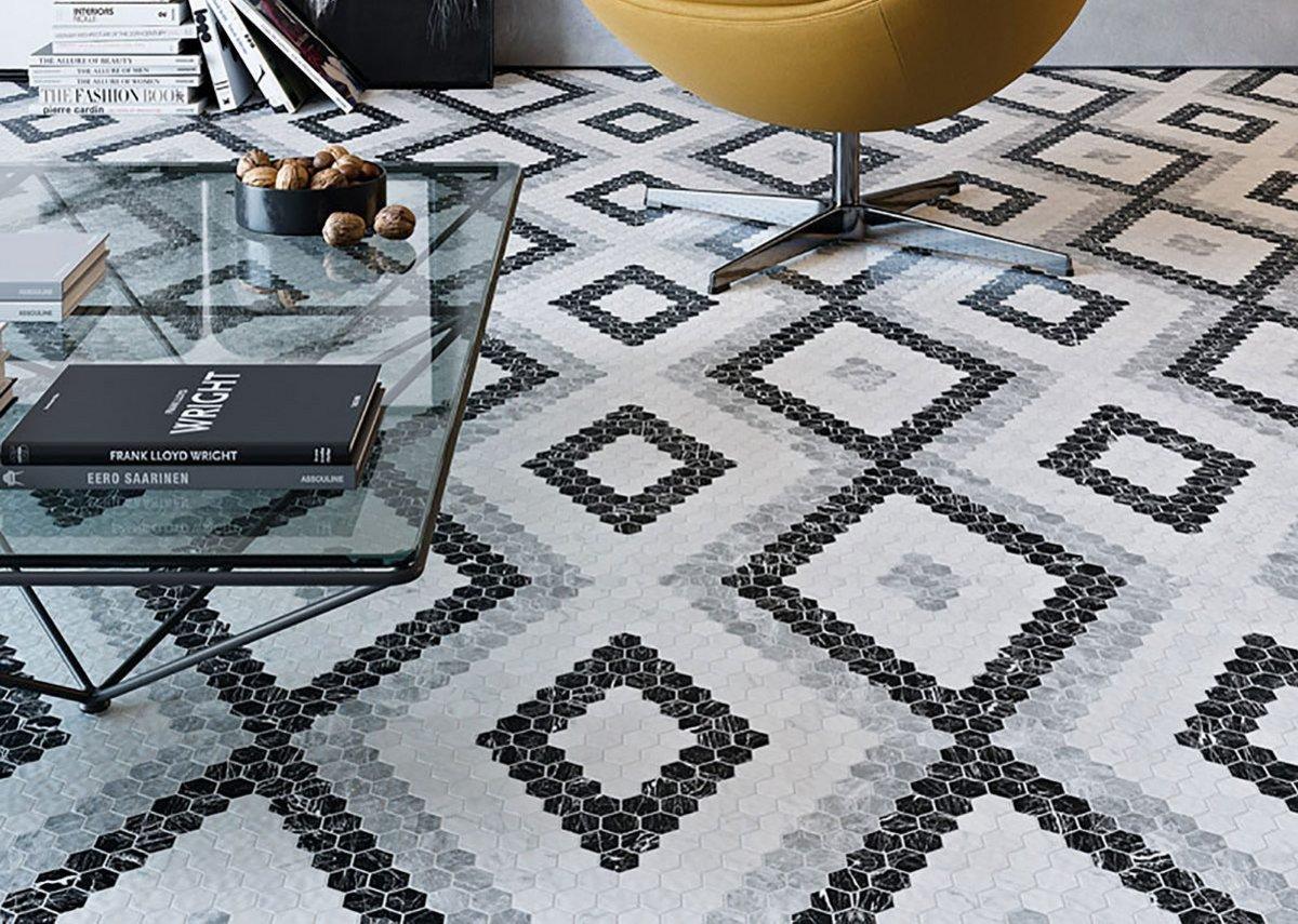 Hex Pattern II by Onix features hexagonal tessera in a mosaic format.