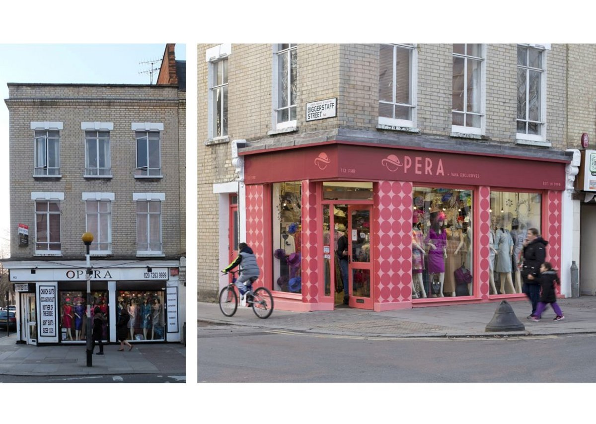 Opera, 112 Fonthill Road, Finsbury Park before (left) and after. The programme was part of the Islington, Hackney & Haringey Council tri-borough town centre initiative.