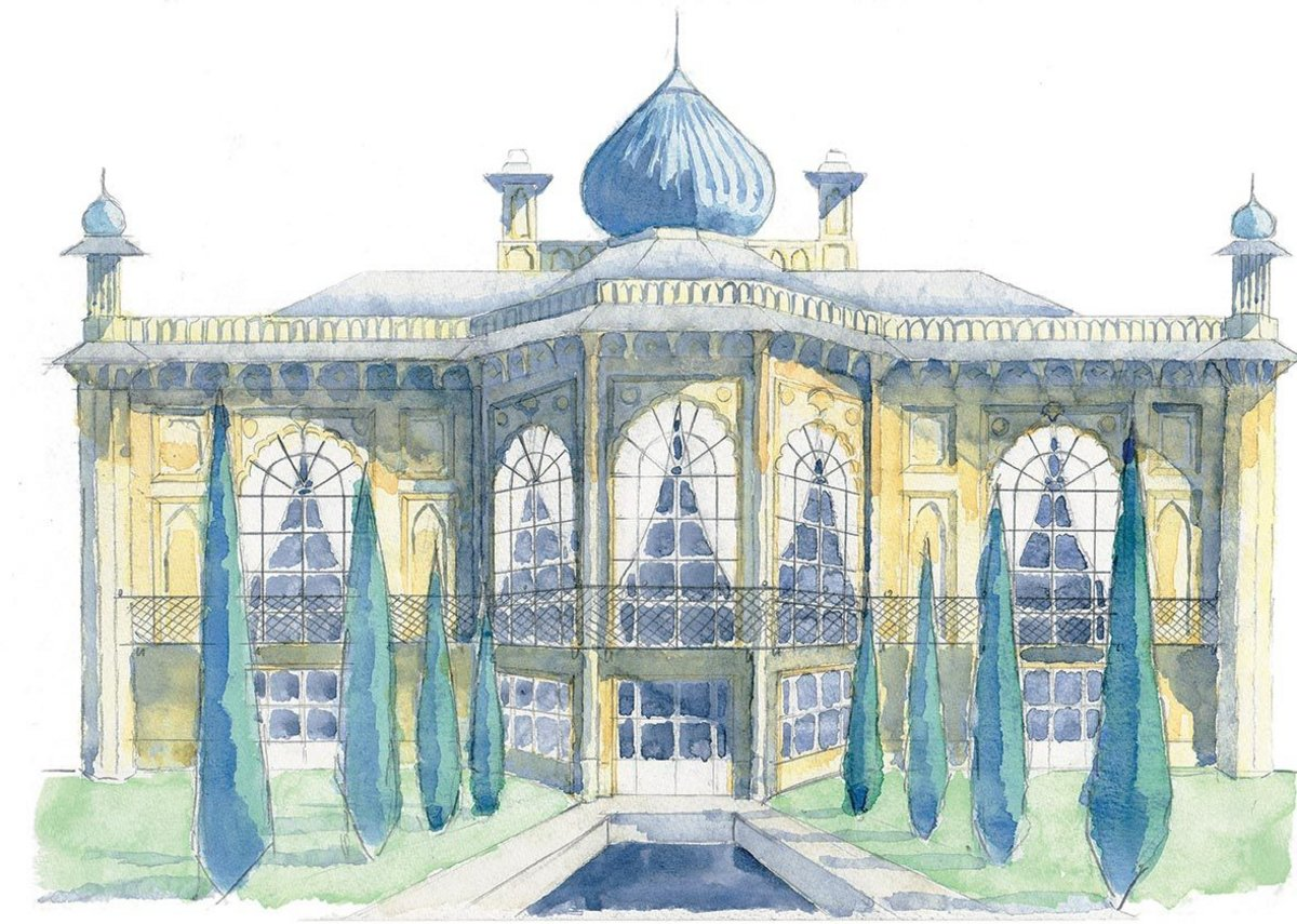 Sezincote House, the 'Taj Mahal in Gloucestershire', built in 1805. Sketch by Rory Fraser