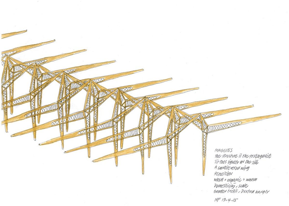 Structural concept sketch by  Norman Foster.