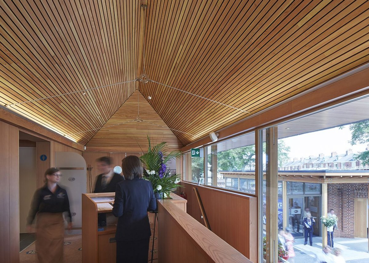 The interior of the weigh-in building has been fitted out with timber ceilings and Yorkshire rose-printed carpets.