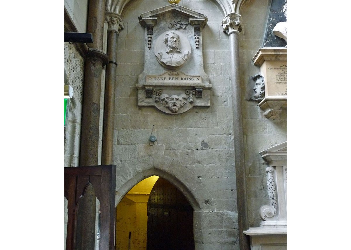 The present entrance, beneath Ben Jonson.