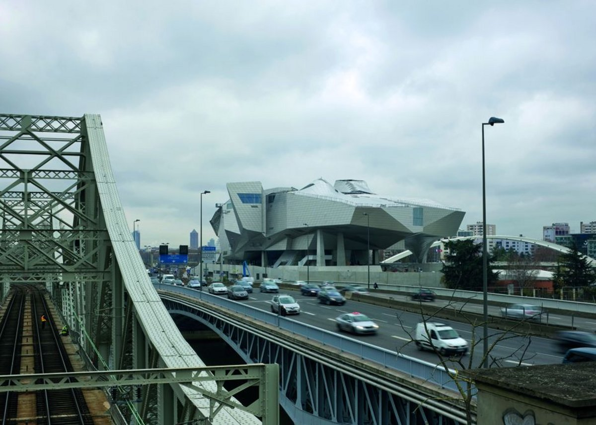 The Musée des Confluences marooned between rivers and infrastructure on its post-industrial site.