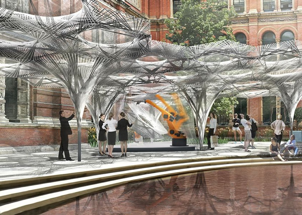 A rendering of the Elytra Filament Pavilion.