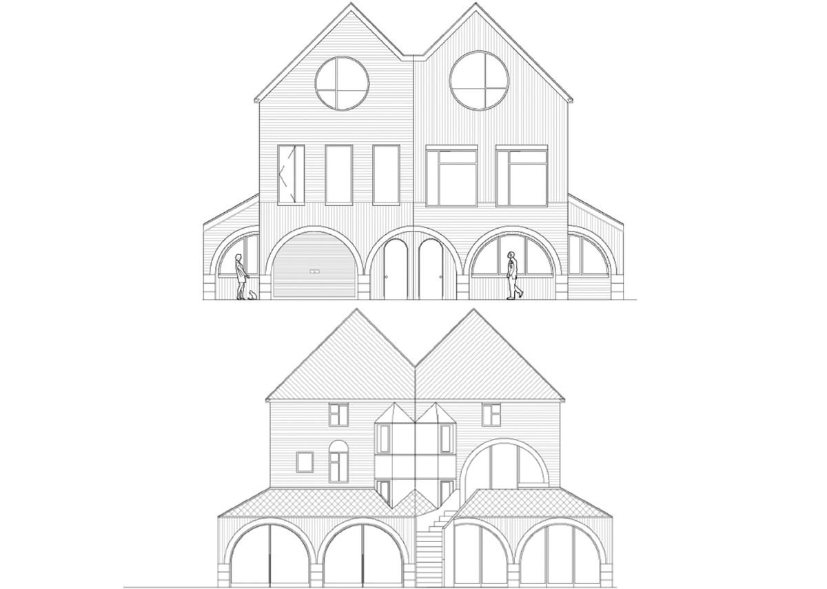 Front and rear elevations showing different fenestration options and an optional garden stair, giving separate access from storeys above the annexe.