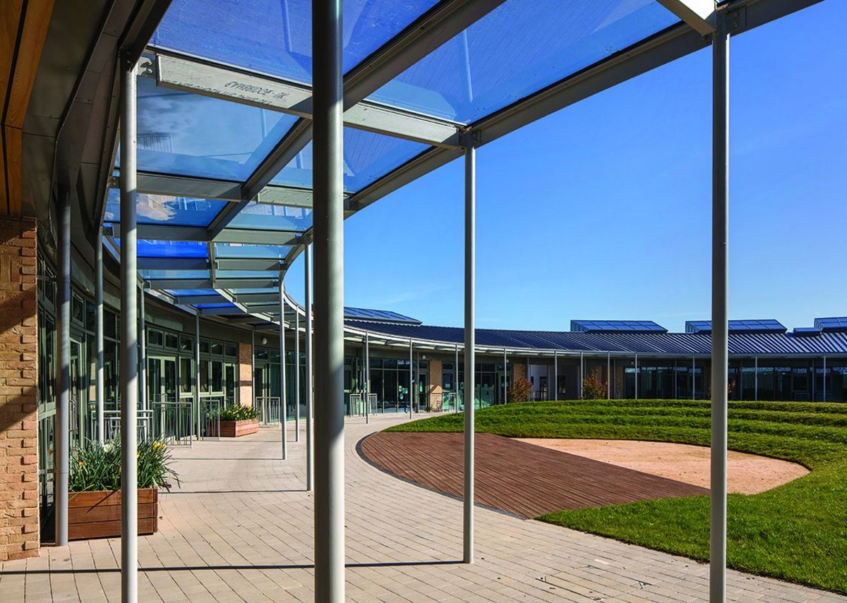 Steel cloister within Marks Barfield's University of Cambridge Primary School.