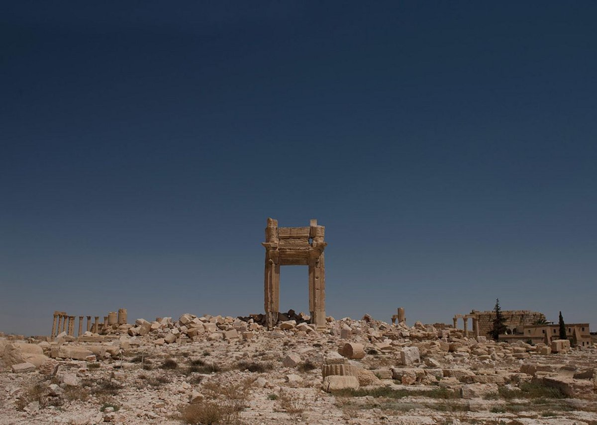 Ruins of the Temple of Bel in Palmyra, Syria, following destruction by ISIS in Augusts 2015 from What Remains at the Imperial War Museum London.