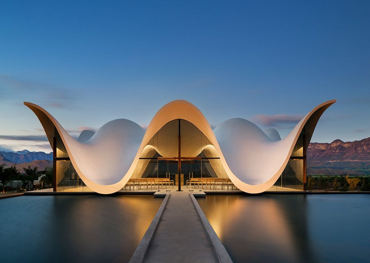 The cast concrete shell of Steyn Studio's Bosjes Chapel in Witzenberg Municipality, South Africa.