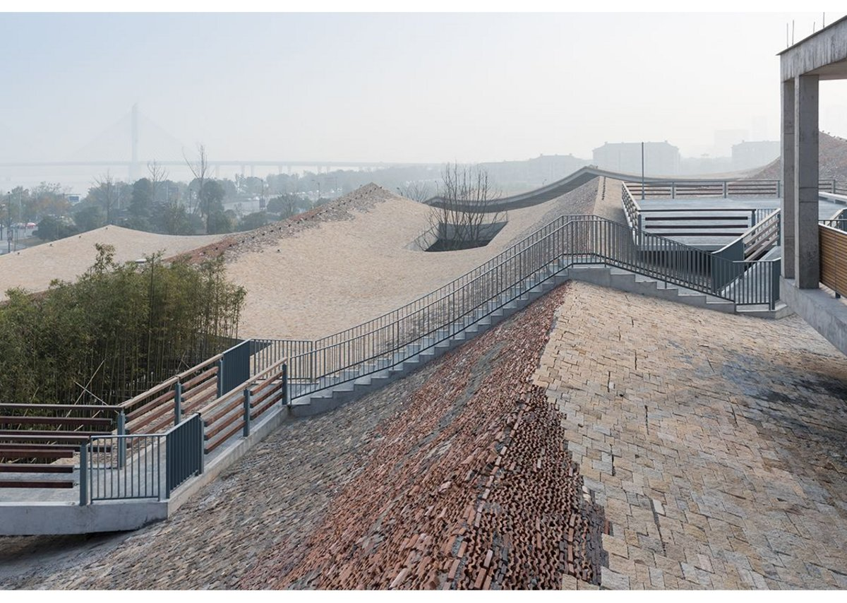 Fuyang Culture Complex, 2016 designed by Amateur Architecture Studio. Rooftop walkways link several small pavilions.