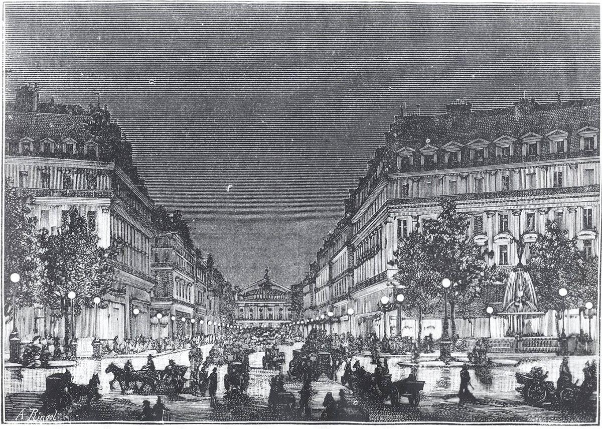 """Yablochkov Candles illuminate the Boulevard De l'Opera. """"L'Avenue de l'Opéra éclairée par les lampes Jablockoff,"""" Lumière Électrique: Revue Universelle d'Électricité, 4:38 (Aug. 10, 1881)"""