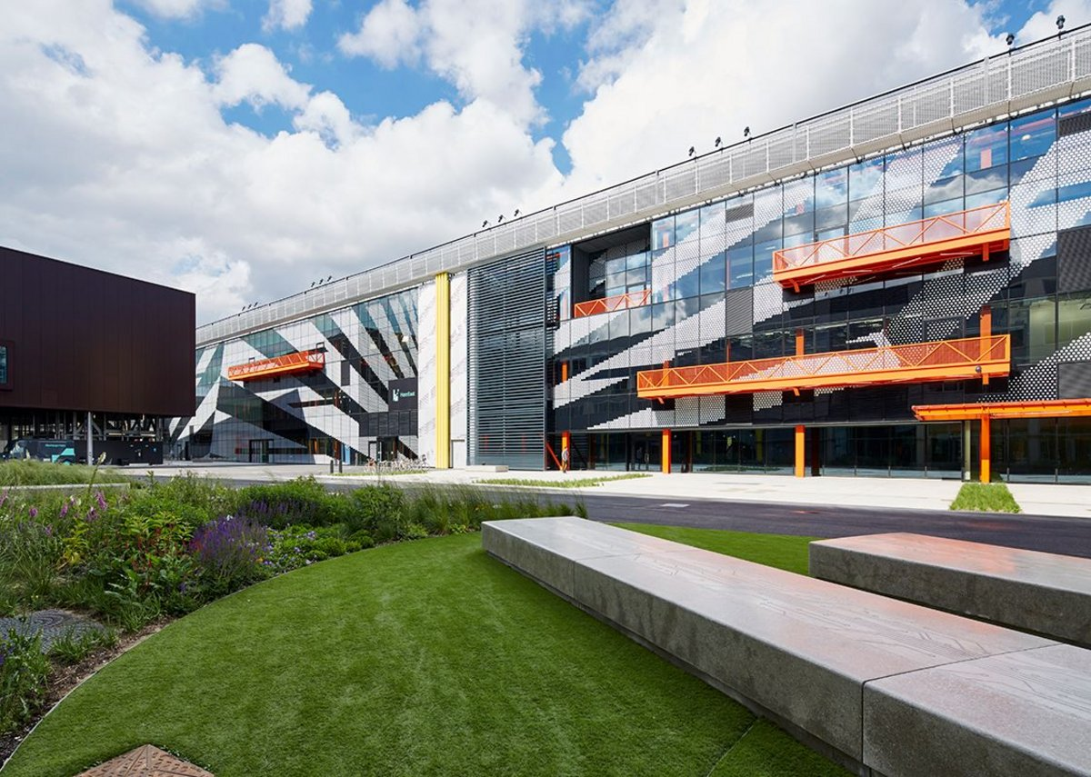 Here East, a digital hub being created by Hawkins Brown alongside the Queen Elizabeth Olympic Park using converted London 2012 broadcast and press facilities.