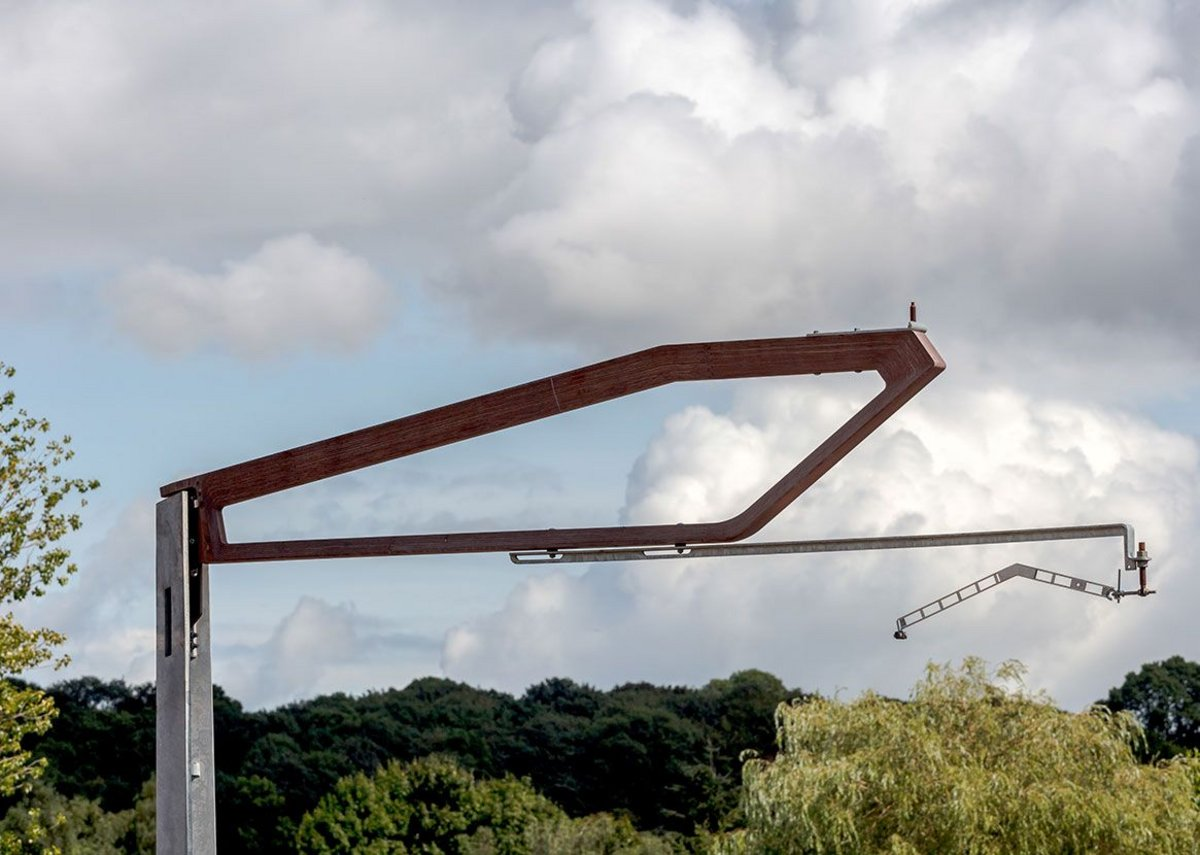 Overhead line structure for high speed rail in a beech composite that Moxon Architects is developing with Mott Macdonald.