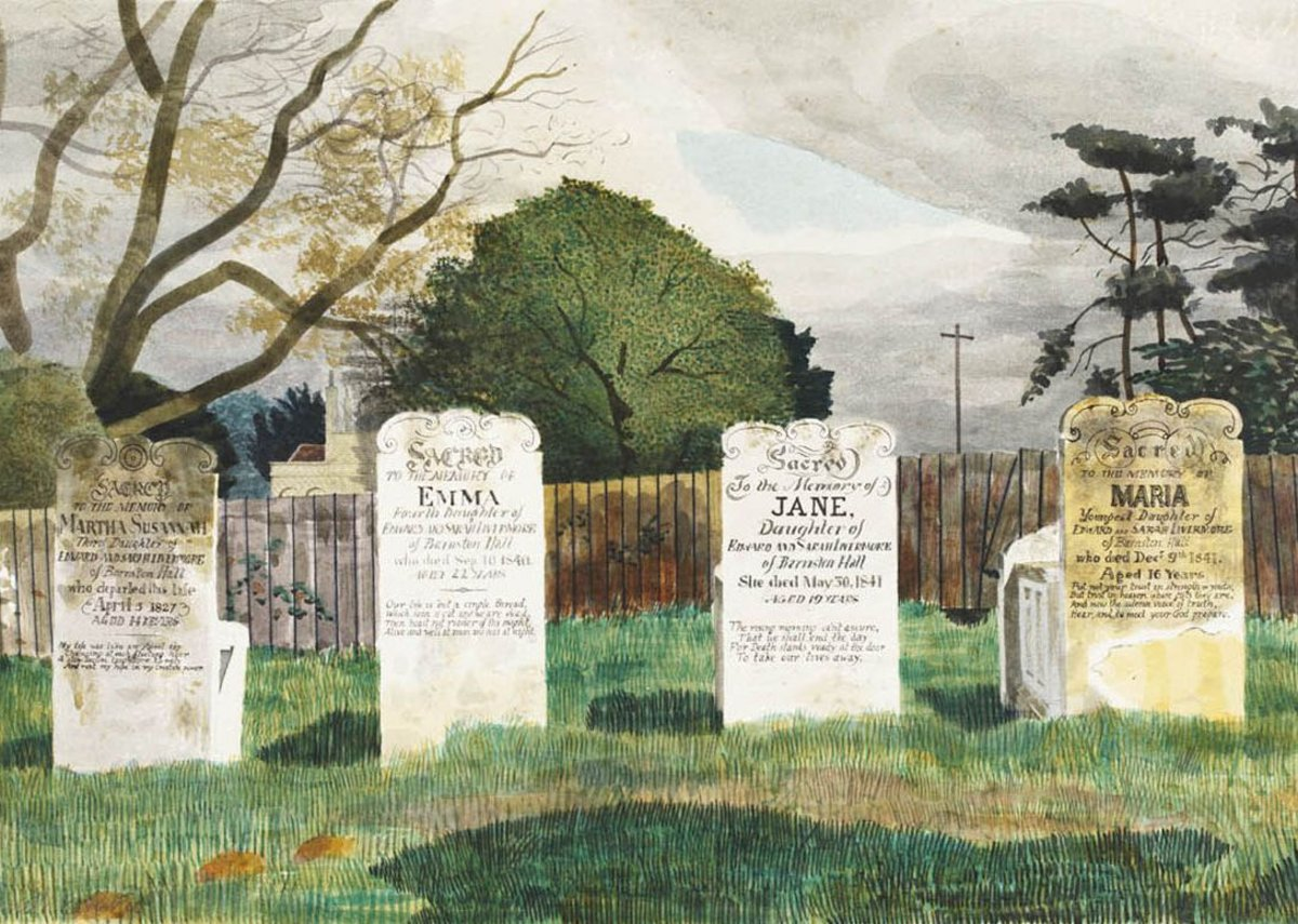 Kenneth Rowntree, The Livermore Gravestones, Barnston, near Dunmow, Essex, c 1942. Given by the Pilgrim Trust.