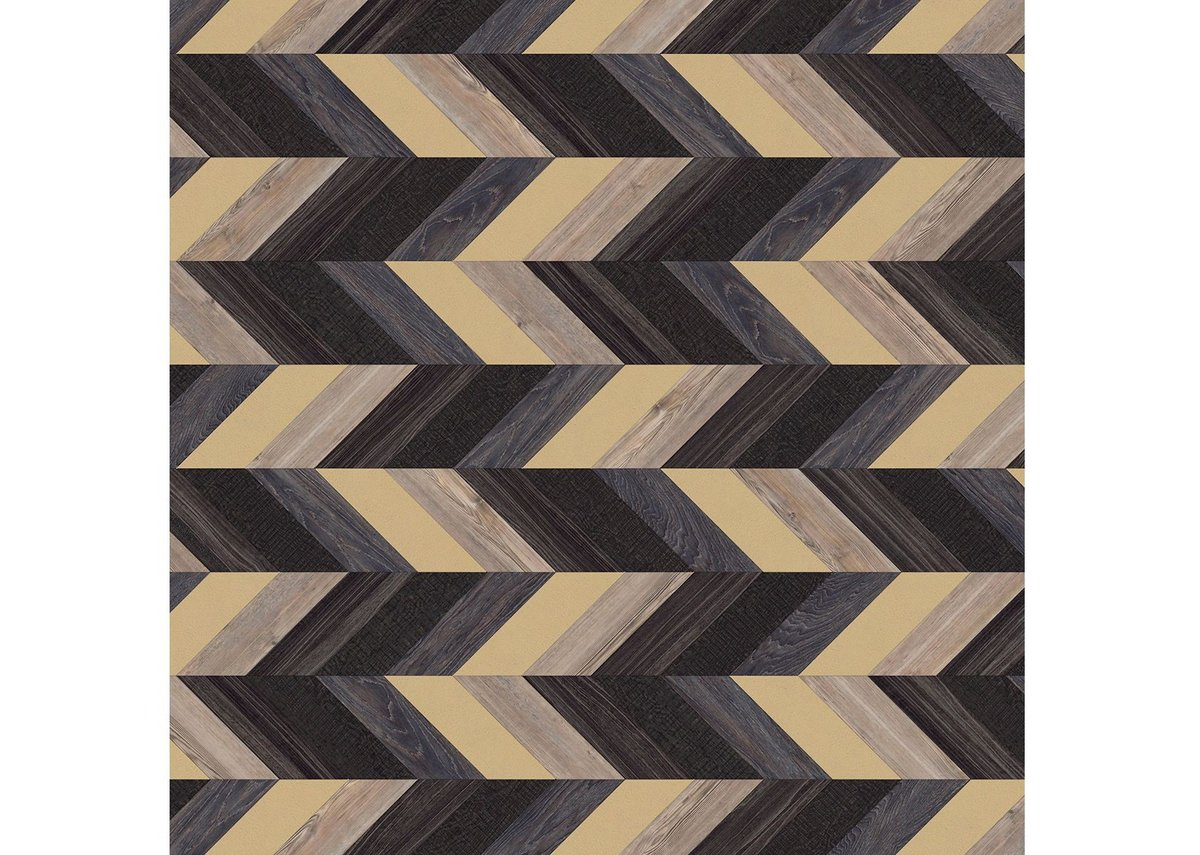 Vein: Pleat laying pattern with Galleon Oak, Cirrus Twilight, Parisian Pine, Shibori Lapsang and Metal Gold Leaf.