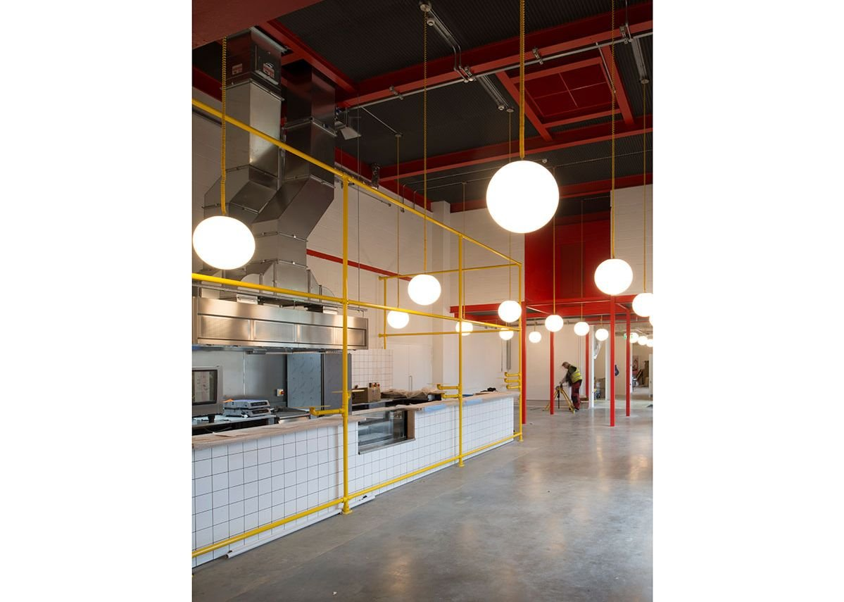 The café area in the rethought original section – colours inspired by….