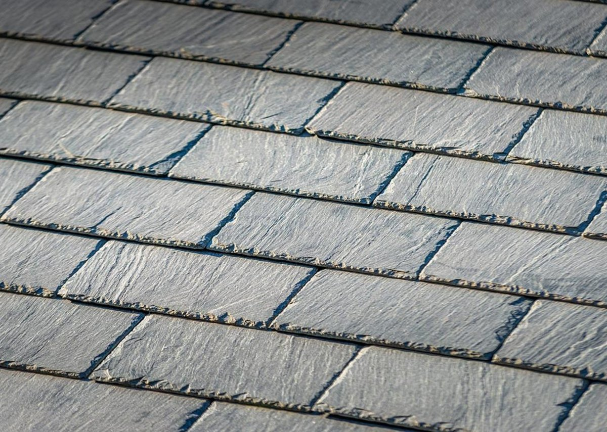 It has a green-grey appearance that is an alternative to slate roofing.