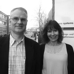 Nora production manager Carsten Klever with PR manager Doris Lierz