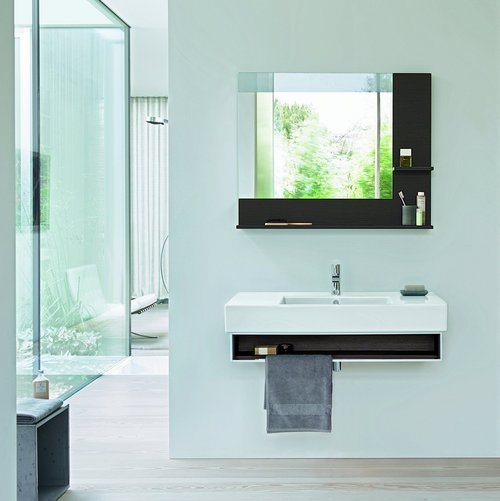 Vero mirror and open shelf console with towel rail