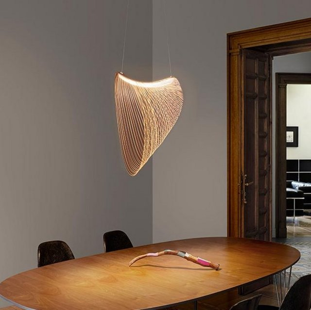 In Hungarian apparently, the word Illan means something temporary and fleeting, and it's the name given to young Hungarian designer Zsuzsanna Horvath's new thin, flexible, plywood suspension lamp