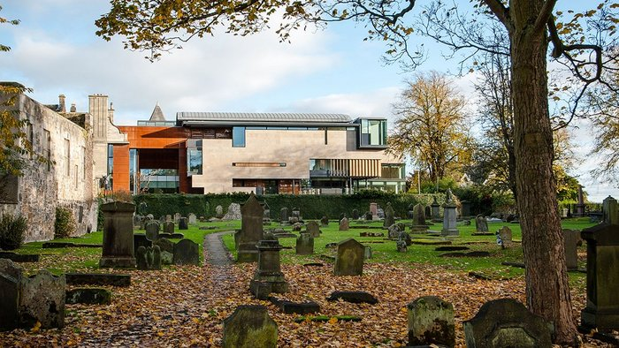 Dunfermline Carnegie Library & Galleries, Fife, west elevation, Richard Murphy Architects.