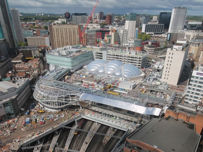 View showing the station's complex roof landscape surrounding the ETFE atrium roof.