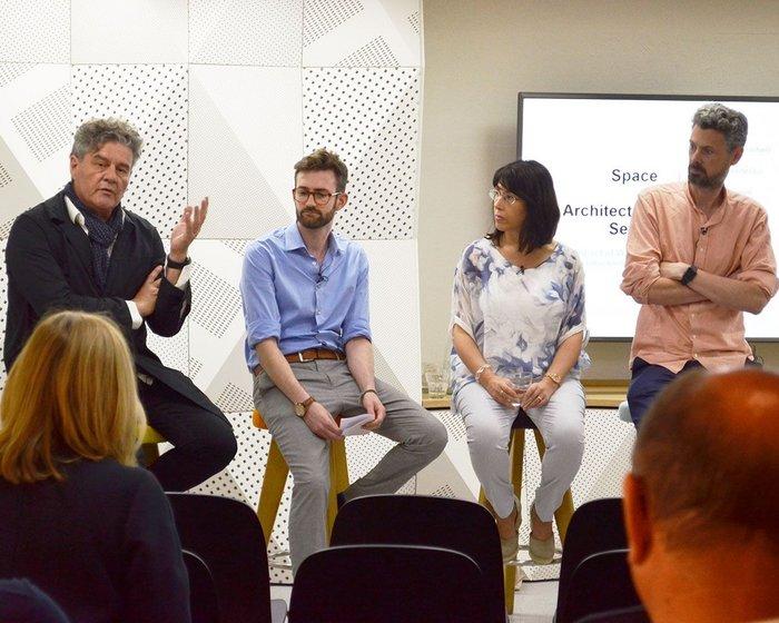 From left: Michel Mossessian (Mossessian Architecture) Ben Allen (Studio Ben Allen),  Marcella Ucci (UCL) and Ben Channon (Assael Architecture).