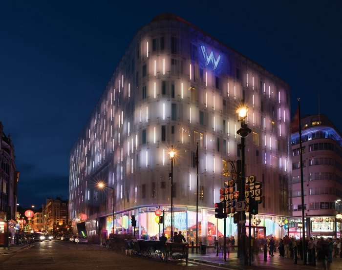 Jestico + Whiles' W Hotel – exploiting Leicester Square's 24-hour culture.