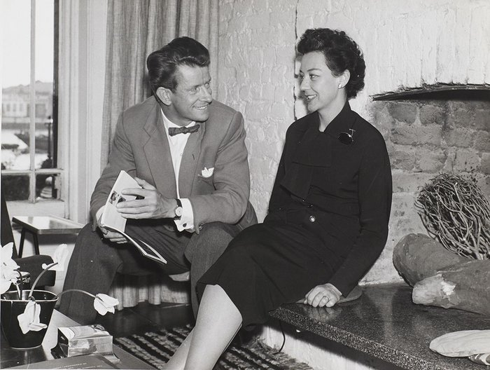 Robin and Lucienne Day in their home in Chelsea, 1956. Robin and Lucienne Day Foundation.