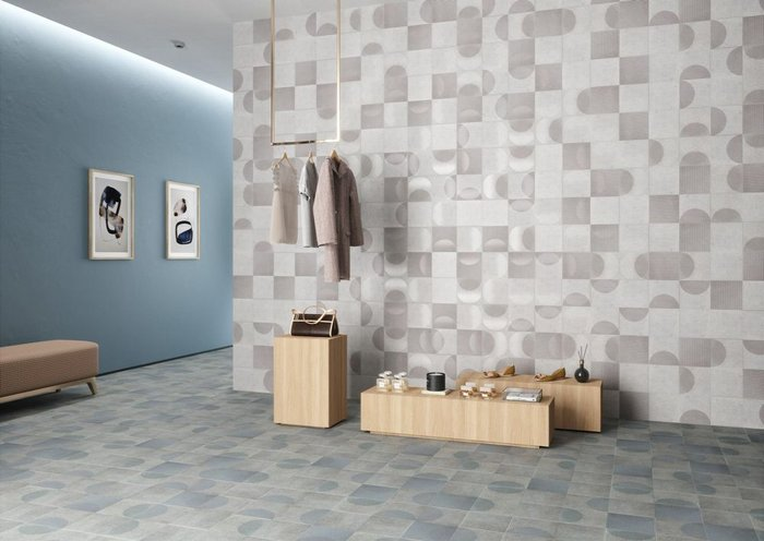 Fading by Harmony features porcelain tiles by Jin Kuramoto in a 20x20cm format with faded overlapping patterns and finishes in five colours and five décors. Suitable for wall and floor.