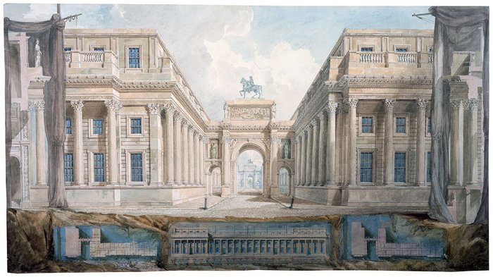 Gandy draws Soane's designs for a triumphal arch on Downing Street.