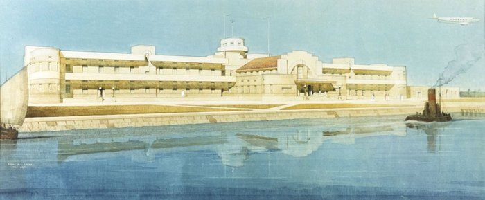 Airport Terminal Basra, Iraq. Designed by J M Wilson with H C Mason. Drawn by Cyril Farey, 1937.