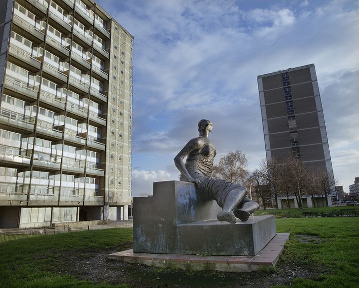 Art for public housing, at least briefly: Draped Seated Woman'Old Flo' by Henry Moore, 1957–58, Taken when still at Stifford Estate, London.