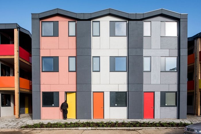 Main facade of the Y:Cube Mitcham project.