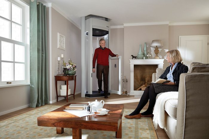 The Stiltz Duo+ Home Lift is able to carry two people at once.