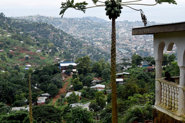 Typical view over the Freetown from informal housing on the lion mountain tops to the city centre and the sea.