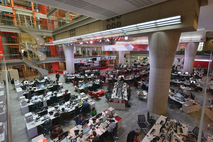 MJP's original open plan design for the news room at the BBC's new Broadcasting House – supposedly negotiating the new world of work