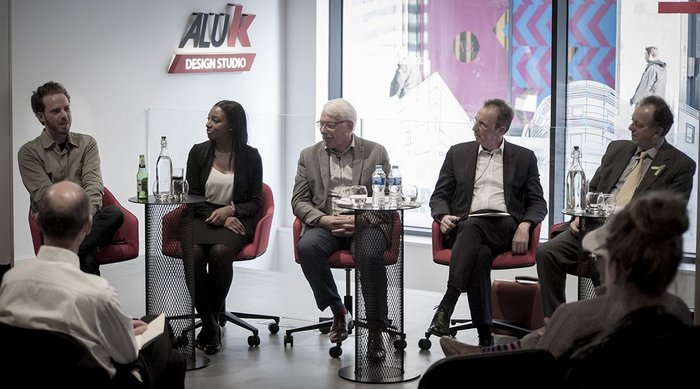 The Social Infrastructure debate panel line-up, from left: Will Sandy, creative director, The Edible Bus Stop;  Chloe Obi, head of BIM, Bouygues UK; Peter Head (chair), founder and CEO, The Ecological Sequestration Trust; Colin Ross, director, Cornerstone; and Andrew Neill, director, infrastructure finance, Investec Bank.