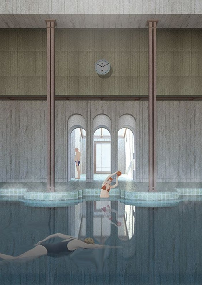 'Frigidarium depicts a moment in a swimming pool for the elderly and explores architectural elements in regards to cognitive perception and therapeutic environments.'