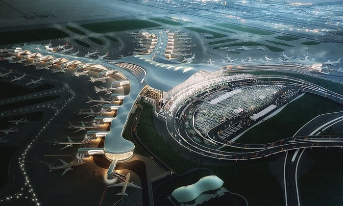 Abu Dhabi airport's sprawling 'X' form is making the building site the largest in the world.