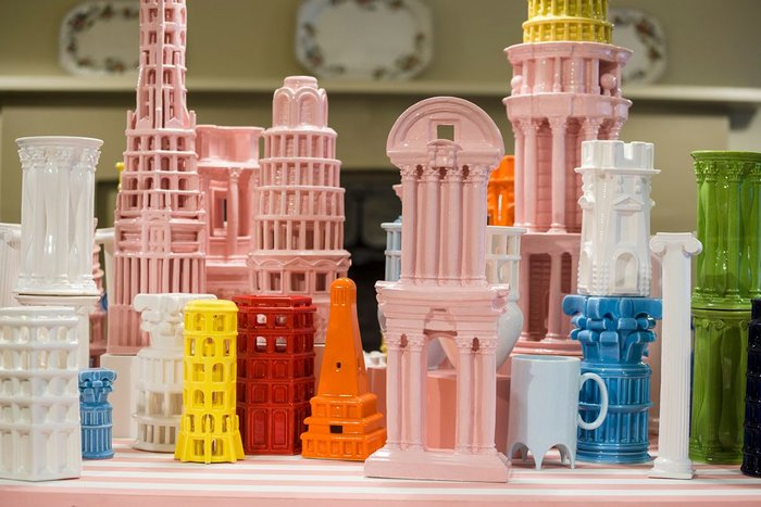 Adam Nathaniel Furman's The Roman Singularity at the Soane Museum. The installation features an assemblage of Capriccio architectural fantasies created in 3D-printed ceramic.