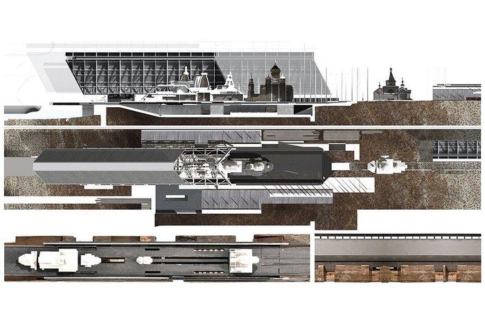 Hangar facility and partial plan (1:200).
