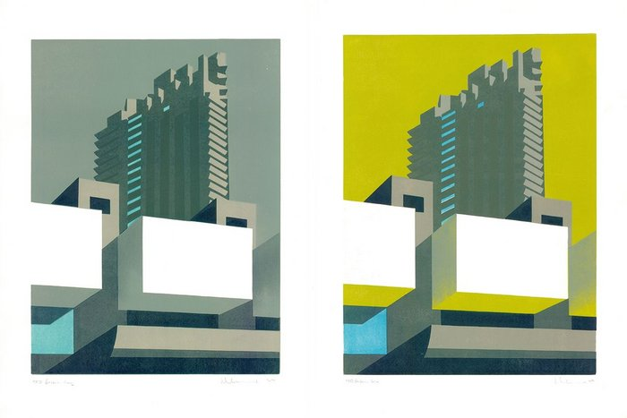 Barbican Grey and Barbican Lime by Paul Catherall. With its various colourways, each hand-printed design can take up to six weeks from initial sketch to completed series of prints.