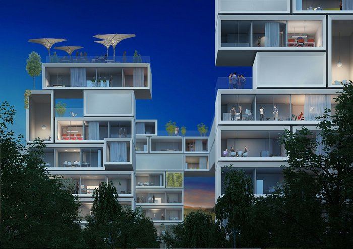 Look of the future city? Werner Sobek's B10 Aktivhaus, in live testing now, extrapolated into high performance, zero emission mass housing.