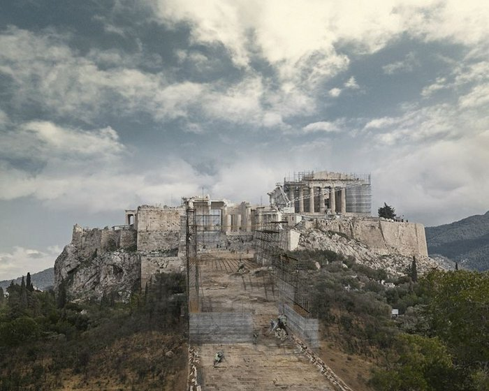 Proposed Reconstruction of the Acropolis Ramp, 2013, by David Gissen.