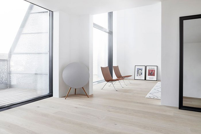 Rustic White Oak Boulevard solid hardwood flooring at The Silo residential development in Copenhagen. Architects COBE and NRE Denmark.
