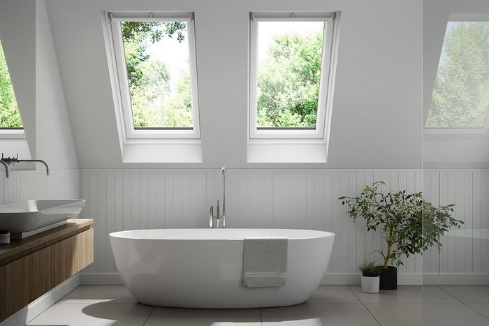 PVC Polar roof windows from Keylite installed in a bathroom