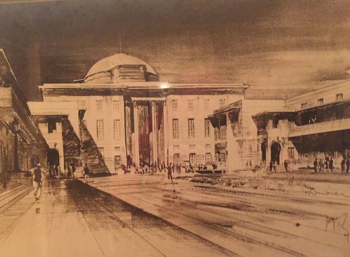 Presentation drawing in ink, wash and pencil of JM's original design for Railway Station Terminus  Baghdad, Iraq, by unknown artist.